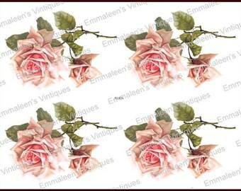 Vintage Shabby Double Pink Stem Roses Waterslide Decals~ FL424