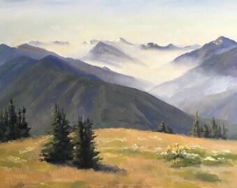 Hurricane Ridge Mist - Original contemporary Landscape painting - Oil Painting