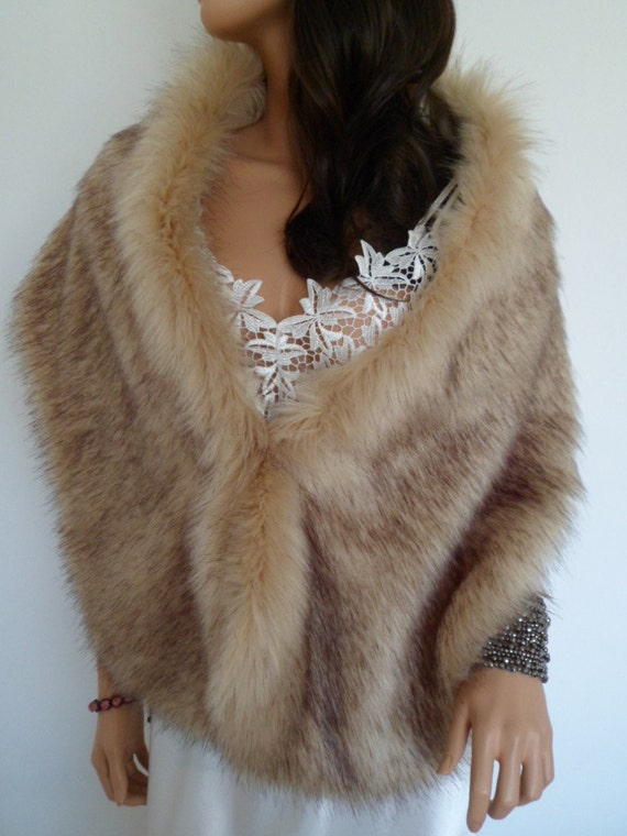 champagne fur stole fawn fur shawl beige faux fur fake fur. Black Bedroom Furniture Sets. Home Design Ideas