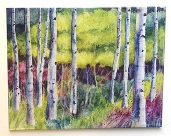 Spring Birch Trees Landscape Watercolor Tile Hangable
