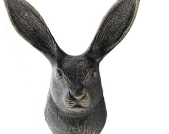 Rabbit wall Hook, Hare wall hook.  Great fun hooks , use both ears for the hooks. comes in an antique brass finish, solid cast iron