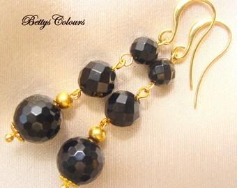 Onyx earrings, black onyx, dangle earrings, italian jewels,black, black earrings, stone earrings, brass