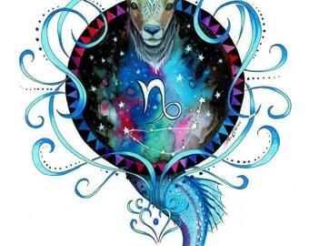 Zodiac sign -capricorn - signed Art Print