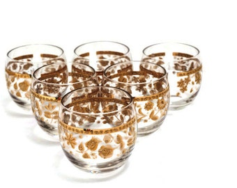 Culver Roly Poly Glasses with Gold Design 6