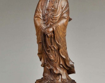 "12"" Natural Eaglewood Kwan-yin / Guanyin Buddha Statue / Sculpture Carving -JZ00152"