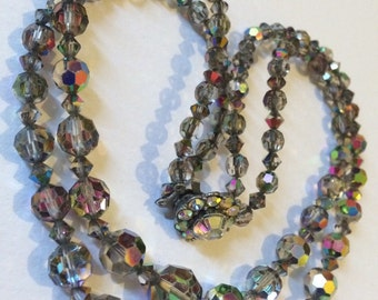 Vintage aurora borealis faceted crystal, double stranded necklace