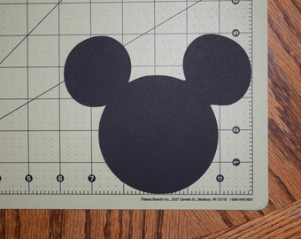 """5"""" Tall - 12 BLACK Mickey Mouse Head Die Cut - Scrapbooking, Birthday Party, DIY Craft Projects, Disney, Confetti, Gift Tags, Banners,Minnie"""