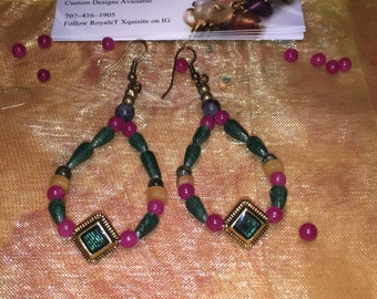 Beaded Earrings* Aventurine Jewelry *Earrings *Custom Order *Date Night *Green and Gold Earrings