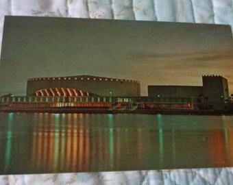 Vintage Original Night View Of St Petersburg's New Bayfront Center Florida Postcard Free Shipping