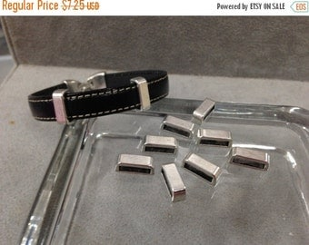 On Sale NOW 25%OFF Antique Silver Bar Sliders for use with 5-10mm Flat Leather Cord Z453 Qty 10