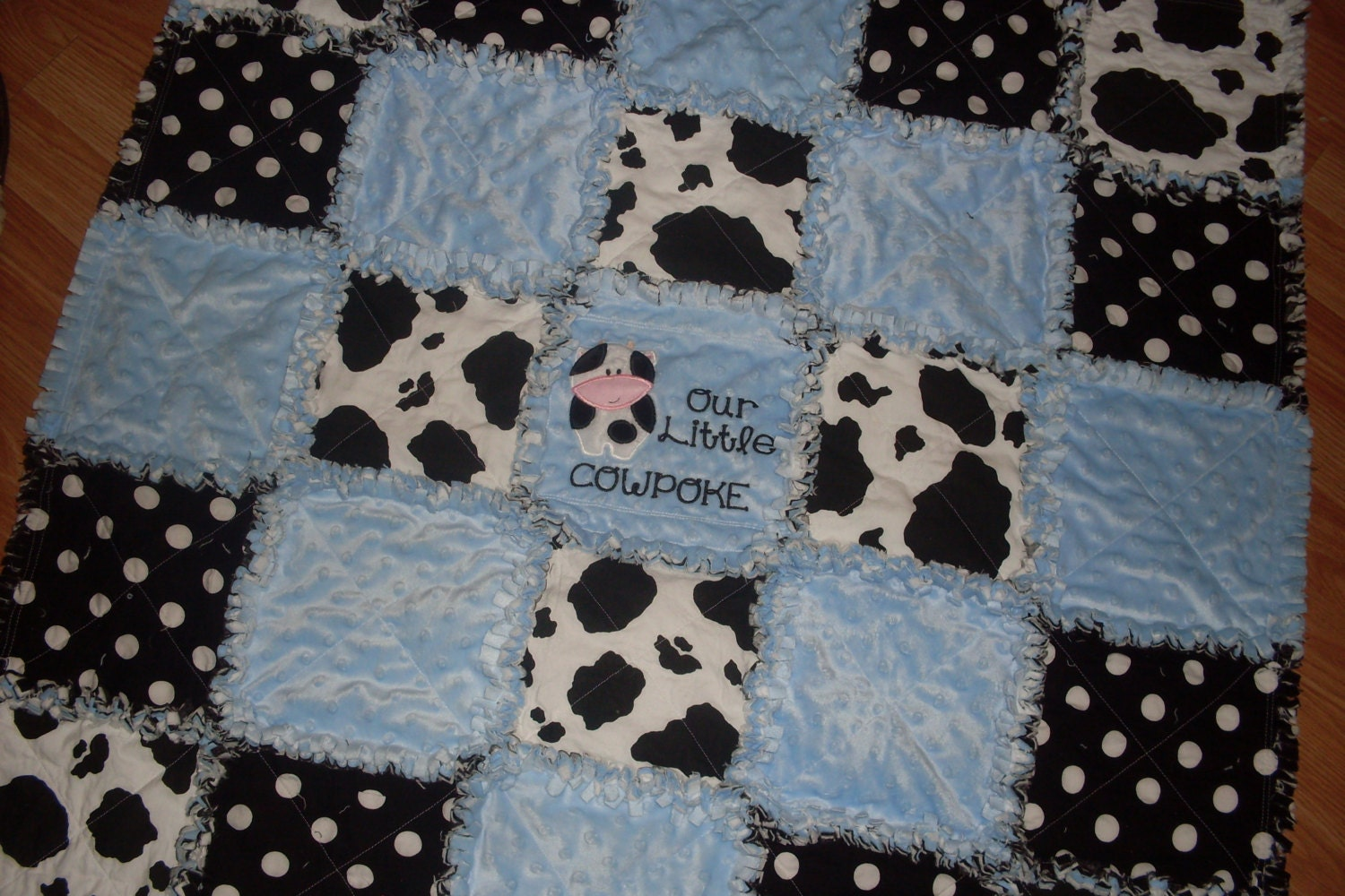 Country Amp Western Baby Boy Blue Minky And Cow Print Rag Quilt