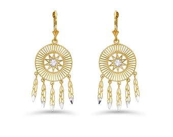 14k solid gold two tone wind catcher earrings on fleur de lis lever backs.