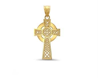 14k solid gold irish cross. irish jewlery, celtic cross, celtic jewelry