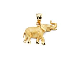 14K Yellow Gold Elephant Pendant, Elephant Pendant, Elephant Jewelry, Animal Jewelry, Gold Elephant, Gold Pendant, Elephant