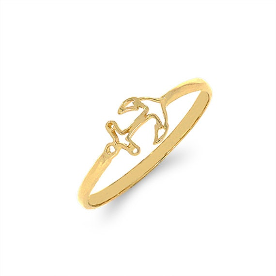 14k solid gold anchor ring nautical ring sealife ring