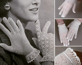 Vintage Bridal Crochet Gloves, Ivory Lace Bridal, Vintage Wedding Gloves