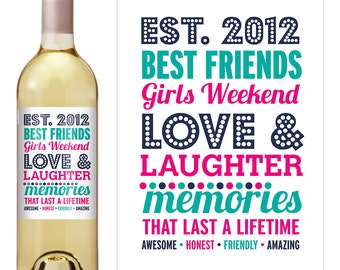 Best Friends wine label -Birthday Wine Label - Personalized Wine Label - Custom Wine Label - Girls Weekend