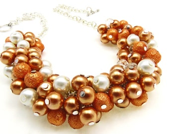 Orange Bridal Cluster Necklace, Burnt Orange Pearl Necklace, Pearl Cluster Necklace, Chunky Necklace, Bridesmaid necklace Set, Orange Pearls