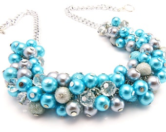 Turquoise Grey Bridesmaid Necklace, Aqua Blue Pearl Necklace, Chunky Necklace, Bridesmaid Jewelry, Chunky Cluster Necklace