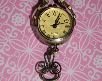 Charming Antique Key and Victorian Style Sphere Pendant Watch Combination Necklace