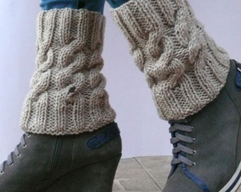 Boot Cuffs \ Сable knit boot cuffs \ Merino wool Knit boot cuffs \Leg Warmers \Women Knit Boot Cuffs, Women Knit Boot Toppers