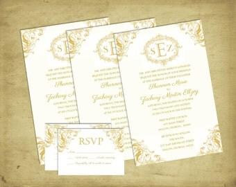 ELEGANT Affordable Wedding Invitation | Gold Scroll | RSVP Card | Monogram