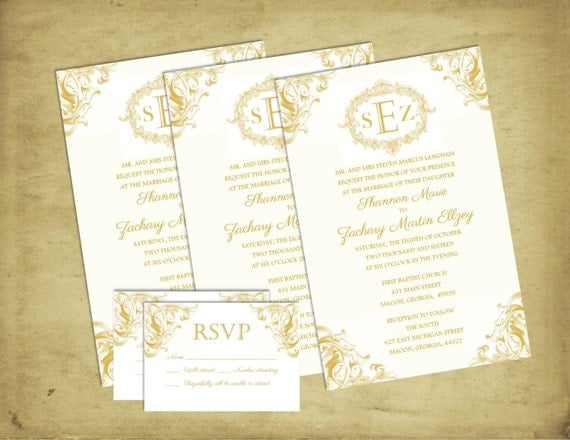 Elegant Inexpensive Wedding Invitations: ELEGANT Affordable Wedding Invitation Gold Scroll RSVP