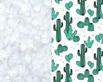 Jade Cactus Minky Blanket, Minky Baby Blanket, Cactus Baby Blanket, Newborn Blanket, Jade Green Cactus Baby Blanket, Desert Baby Quilt