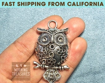 2pcs Large Owl Charms - Antique Silver Metal Alloy Lovely Owl Jewelry Pendant Charms Animal Charm - D168