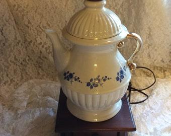 SALE/Teapot lamp/ ceramic lamp/ table lamp/ french country lamp/teapot/ vintage lamp/ kitchen lamp