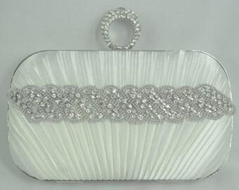 Crystal Bridal Clutch, Wedding Handbag, Bridal Box Clutch, Crystal Wedding Clutch, Small White Bridal Handbag, Diamond White Bridal Clutch