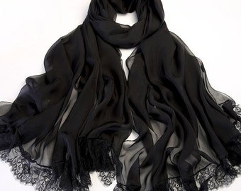 Black Lace And Silk Scarf - Black Lace Chiffon Scarf - Black Silk Scarf - White Lace Silk Scarf - White Silk Scarf - AS2016-4