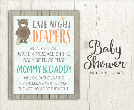 Baby Shower Diaper Activity Card Sign | Zazzle  |Sign For Diaper Baby