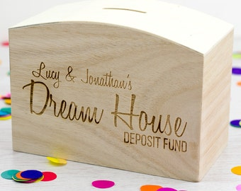 Wooden Money Box - Dream House Fund - Personalised Money Box - Wedding Gifts - Gift For Couple Engagement - Money Bank - Money Box - LC093