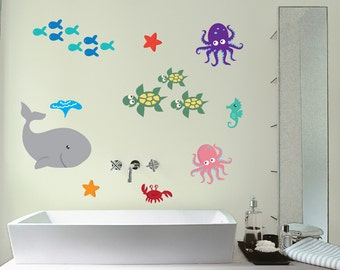 Sea Wall Stickers, Ocean Wall Decals, Sea Creature Wall Art, Sea Animals Wall Transfer - Full Colour Wall Stickers - PPA001