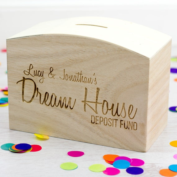 Wedding Gift Deposit Box : BoxDream House FundPersonalised Money BoxWedding GiftsGift ...