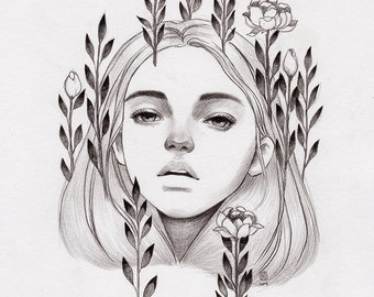 Pencil Drawing Art Print. Blooming.