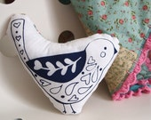 Sale! Handmade Whimsy Folk Bird Pillow, Amour (Love), Bird Toy, Stuffed Animal