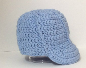 Crochet Baseball Cap, Baby Boy Newsboy Hat, Newborn Hat, Baby Boy Clothes, Infant Baseball Cap, Photo Prop, Shower Gift Boy, Baby Boy