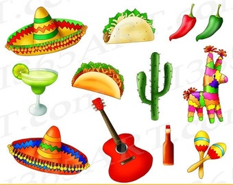 50% OFF SALE Mexican Fiesta Clipart, Cinco De Mayo, Taco Tuesday, Mexican clip art, taco party, tacos, digital, invitations, PNG, Commercial