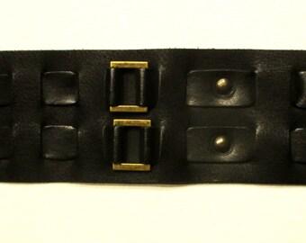 Black Leather wristband, cuff, bracelet (bronze color)
