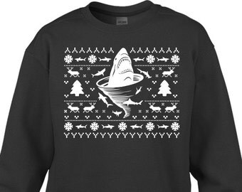 """Shark Tornado Inspired """"Ugly Christmas Sweater Shark Tornado"""" Unisex Sweatshirt for Christmas, Holidays, Party, Barcrawl, Office Party"""