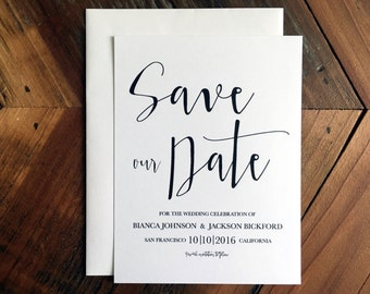 Save-our-Date, Save the Date, Calligraphy Style Font, Simple, Modern