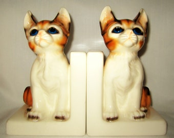 Vintage Cat Empress by Haruta Bookends Porcelain Book Ends Made in Japan
