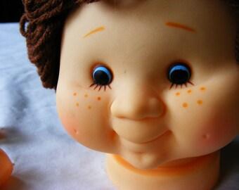 Doll Head with Hands and Yarn Hair- Yarn doll heads - Brown Yarn hair - plastic doll - toy crafts