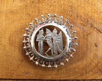 Vintage Egyptian Revival Brooch - Egyptian Music Pin