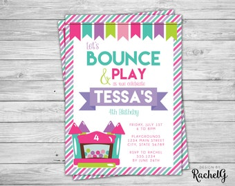 Bounce House Birthday Party Invitation - Digital File PDF or JPG