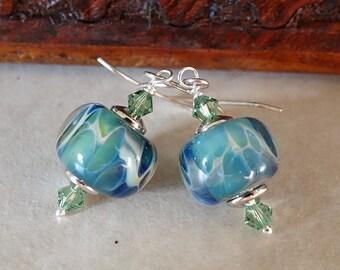 Green, blue, cream boro earrings/ swirl borosilicate bead earrings/Swarovski crystal lampwork bead