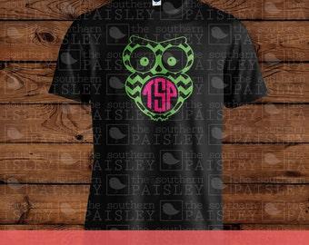 Chevron Owl Monogram T-Shirt