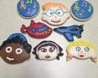 1 Dozen Little Einstein Hand Decorated Cookies